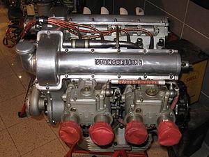 English: A Stanguellini racing engine exhibite...