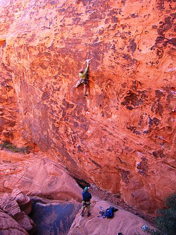 English: Climbers in Red Rocks of Nevada, USA....